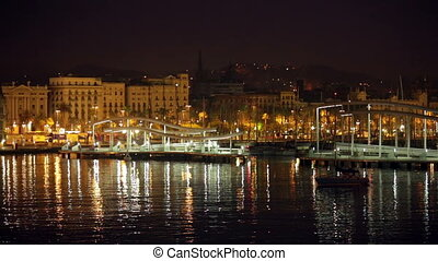Port Vell at Barcelona in night - View of Port Vell at...