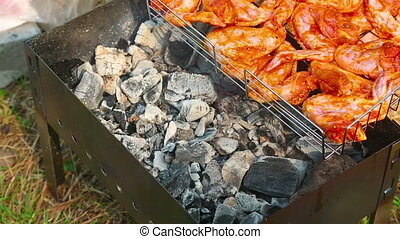 Barbecue - Chicken wings being roasted on a grill