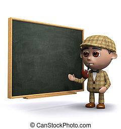 3d Sherlock blackboard - 3d render of Sherlock at a...