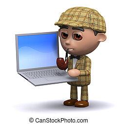 3d Sherlock laptop - 3d render of Sherlock with a laptop