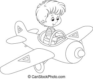 Boy pilot - Little boy flying in a toy plane