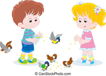 Children feed small birds - Little boy and girl feeding a...