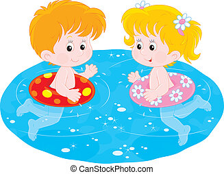 Children swim with inflatable circl - Little girl and boy...