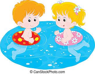 enfants, nager, gonflable, circl