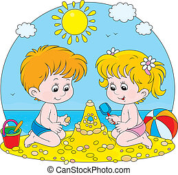 Children play on a beach - Little girl and boy building a...