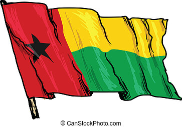 flag of Guinea-Bissau - hand drawn, sketch, illustration of...