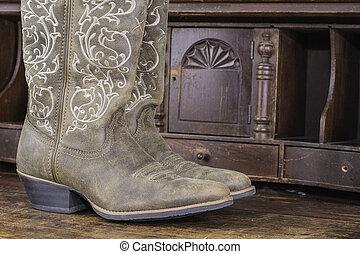 damas, vaquero, botas