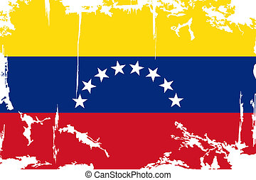 Venezuelan grunge flag. Vector illustration. Grunge effect...