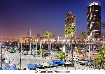 Port Olimpic Marina at Night in Barcelona - Port Olimpic...