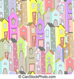 Town houses seamless pattern background