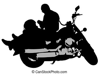 Motorcyclist - Old man on retro bike on white background