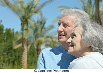 couple at the resort - Senior couple at the resort during...