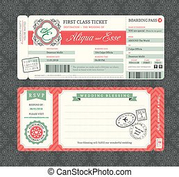Vintage Boarding Pass Wedding Invitation Template - Vintage...