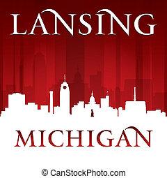 Lansing Michigan city silhouette red background - Lansing...
