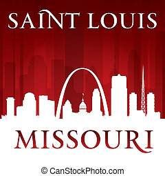 Saint Louis Missouri city silhouette red background