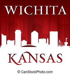 Wichita Kansas city silhouette red background - Wichita...