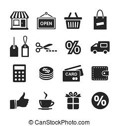 Shopping Icon Set Simplus series Raster version
