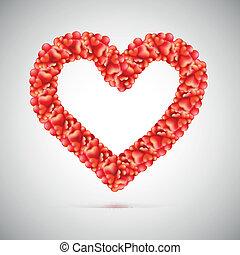 Big red heart made up of small hearts