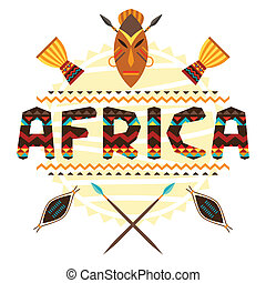 African ethnic background with geometric ornament and...