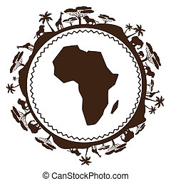African ethnic background in design flat style
