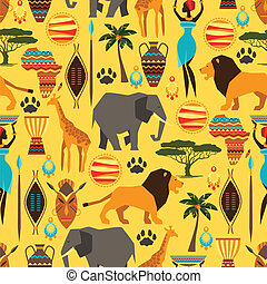 African ethnic seamless pattern with stylized icons
