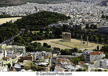 Ancient Greece - A view from the hill of the city of Athens...