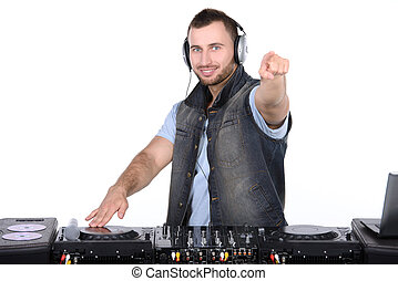 Music - Cool DJ at work Happy young men spinning on...