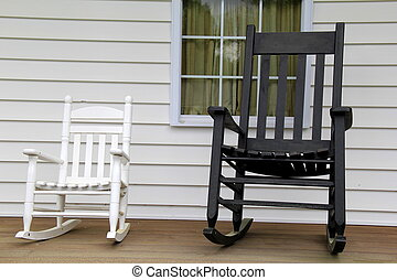 White and black rocking chairs