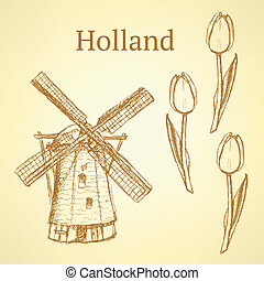 Sketch Holland windmill and tulip, vector background -...