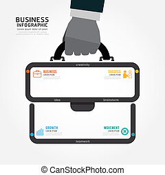 infographics vector businessman hand hold business bag...