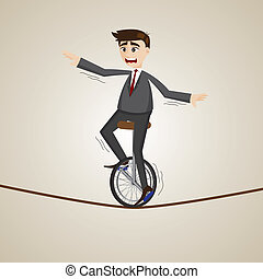cartoon businessman riding unicycle on rope - illustration...