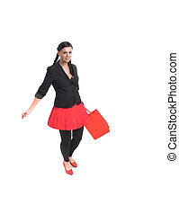 happy shopper - Happy shopper with red shopping bags