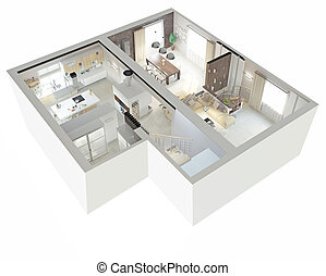 Plan view of an apartment.Ground floor. Clear 3d interior...