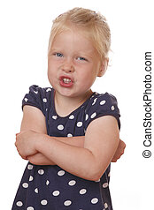 Anger - Portrait of an angry young girl on white background