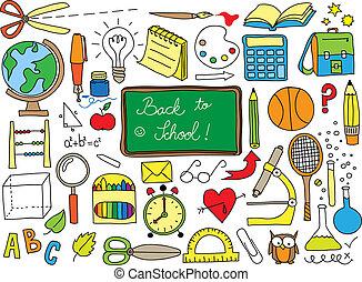 School doodle - Back to school doodle set