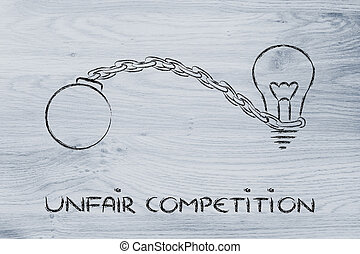 unfair competition, emprisoning ideas - idea stuck with ball...