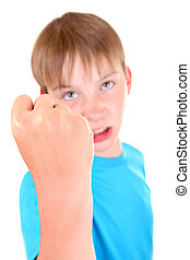 Kid threaten with a Fist - Angry Kid threaten with a Fist...