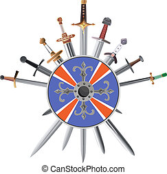 Swords cross crosswise and shields - Vector illustrations of...