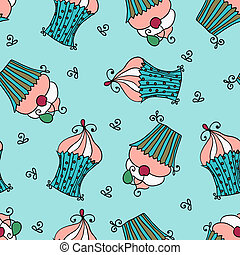 doodle vector seamless pattern with sweet cupcakes