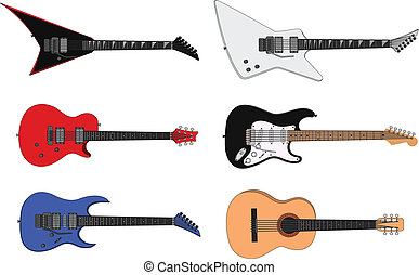 Guitars - Vector illustration of a six stylized guitars.You...