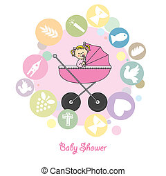 Baby girl baptism invitation card