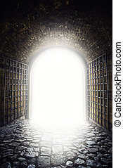 Exit to the light. Light at the end of the tunnel as hope...