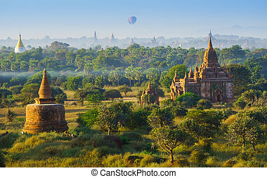 The Temples of bagan at sunrise, Bagan, Myanmar - The...