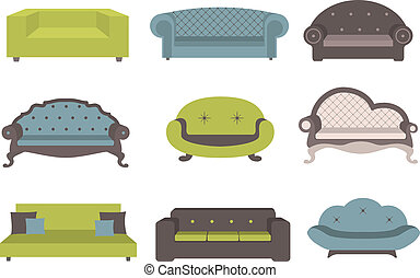 Sets of colorful sofa, furniture for an int