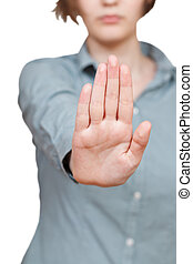 parada, sinal, -, um, mão, gesto