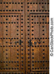 A ancient wooden door detail. Europe.