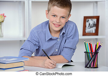Boy At Home - Portrait of a boy school, making lessons at...