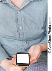 smartphone with cut out screen in hand