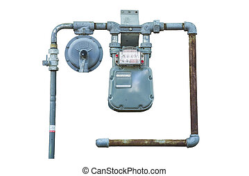 Gas Meter - Weathered natural gas meter with rusty pipes...