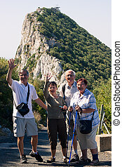 Happy tourists on the Rock of Gibraltar - Portrait of happy...